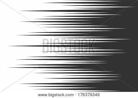 Speed horizontal lines. Comic book background. Black and white. Vector illustration for web design banner or print