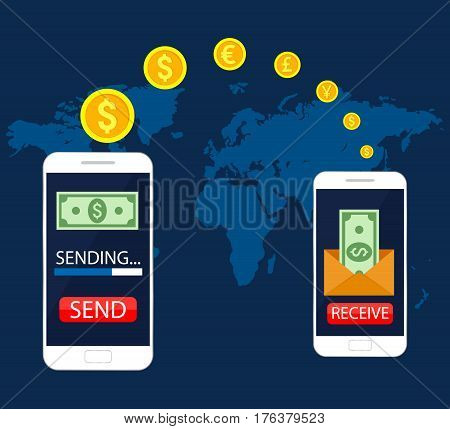 Concept mobile money transfer, mobile online banking, transfer financial operations. Vector illustration, flat design