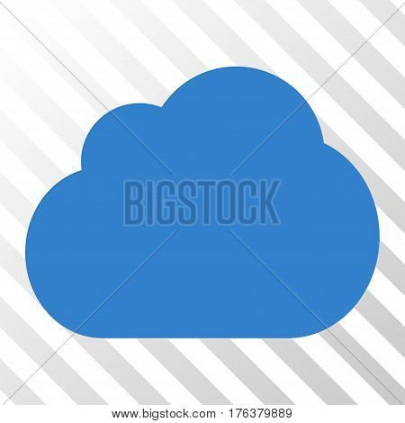 Cloud vector pictogram. Illustration style is a flat iconic cobalt symbol on a transparent background.