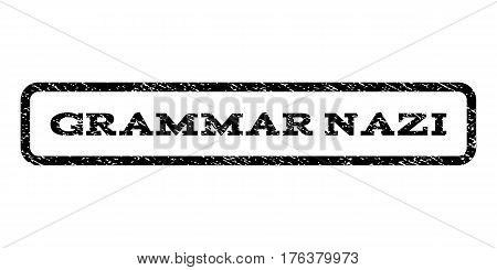 Grammar Nazi watermark stamp. Text caption inside rounded rectangle frame with grunge design style. Rubber seal stamp with dirty texture. Vector black ink imprint on a white background.