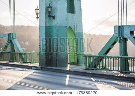 Pillar On A Large Steel Bridge