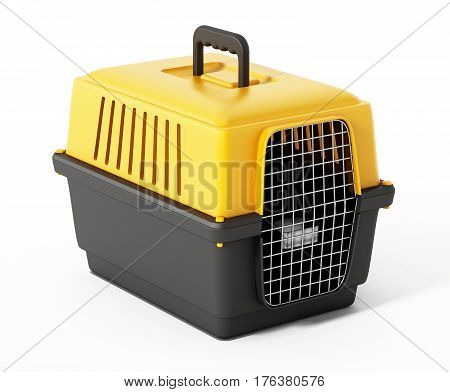Pet carrier isolated on white background. 3D illustration.