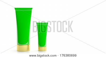 Cream Tubes On White Background. 3D Illustration