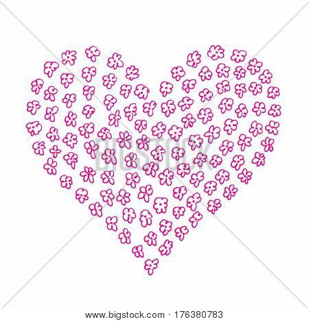 Heart from abstract flower pattern on white background hand draw
