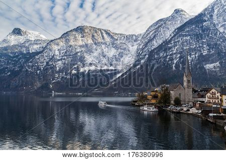 Hallstatt, Austria. Scenic view of  the landscape of the mountains and the famous Austrian Village.