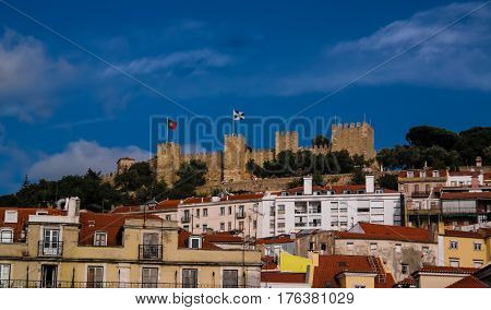 Exterior view to Sao Jorge Castle in Alfama Lisbon, Portugal