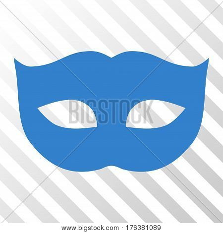 Privacy Mask vector pictograph. Illustration style is a flat iconic cobalt symbol on a transparent background.