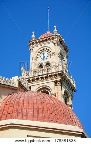 View of Saint Minas Cathedral clock tower Heraklion Crete Greece Europe.