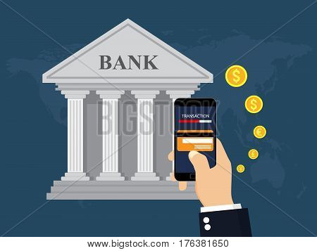 Mobile Banking And Mobile Payment. Money transaction. Money transfer. Vector Illustration.