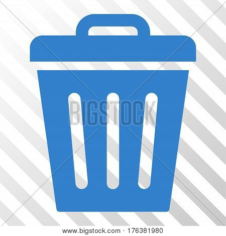 Trash Can vector pictograph. Illustration style is a flat iconic cobalt symbol on a transparent background.