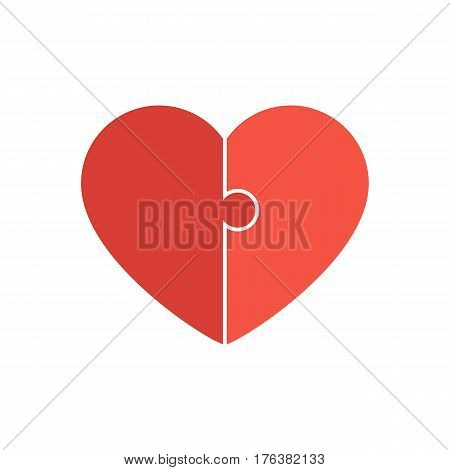 Red heart sign. Valentine's Day. Jigsaw puzzle pieces. Concept love icon. Vector illustration isolated on white background for greeting card design