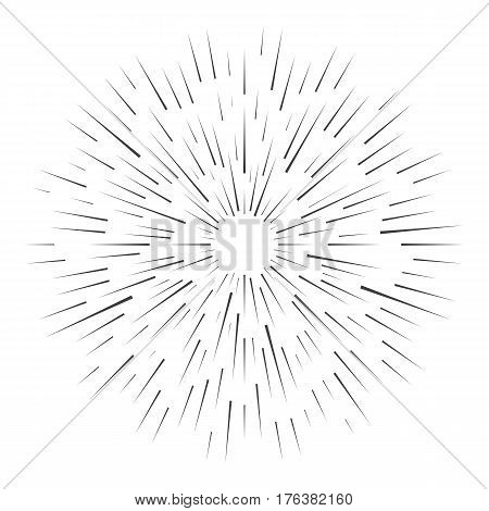 Retro sunburst, vintage abstract radiant starburst. Vector illustration isolated on white background