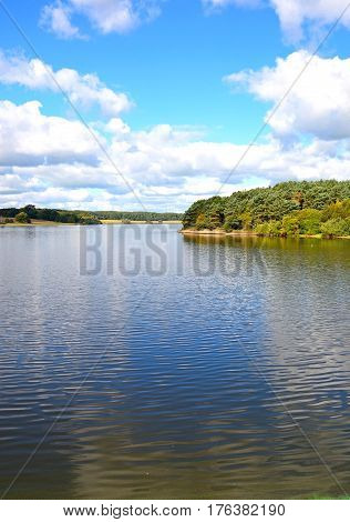 View across Blithfield reservoir towards trees and fields Blithbury Staffordshire England UK.