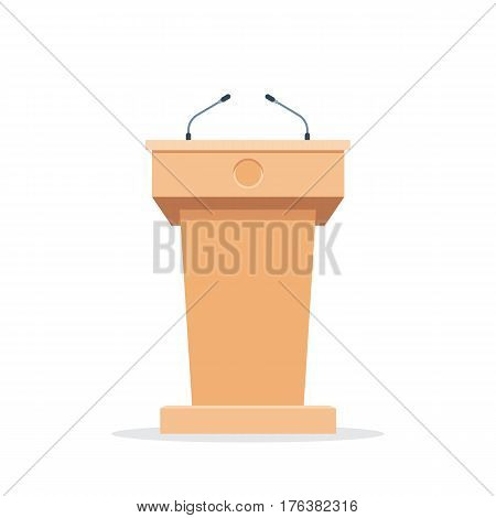 Wooden podium tribune stand rostrum with microphones. Flat icon. Vector illustration isolated on white background