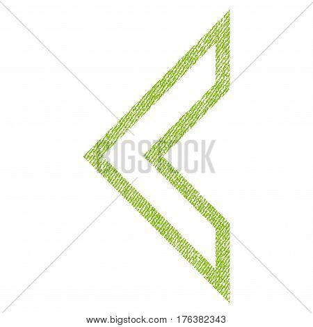 Arrowhead Left vector textured icon for overlay watermark stamps. Fabric light green vectorized texture. Symbol with scratched design. Rubber seal stamp with fiber textile structure.