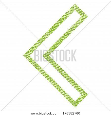 Arrowhead Left vector textured icon for overlay watermark stamps. Fabric light green vectorized texture. Symbol with dust design. Rubber seal stamp with fiber textile structure.