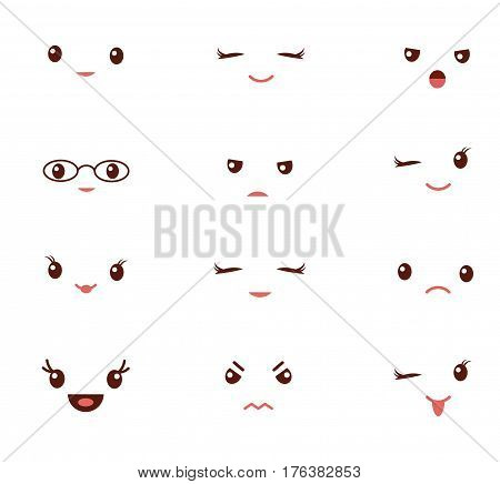 Cute emoticons with different emotions vector illustration. Vector set of emoji. Set of smiley different icons