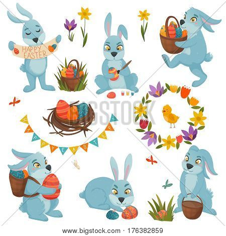Easter big set of isolated cartoon bunny characters with easter eggs nest chicken and flowers images vector illustration