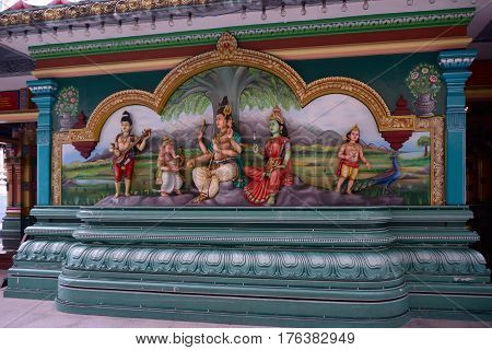 Kuala Lumpur Malaysia - November 5 2014: Sculptures of Hindu deities in Sri Mahamariamman Temple which is the oldest Hindu temple in Kuala Lumpur.
