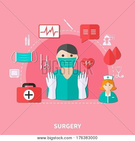 Surgery flat composition with doctor nurse blood cardiogram computer and medical tools on pink background vector illustration