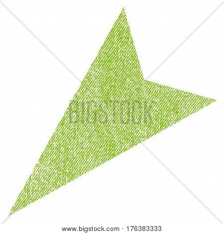 Arrowhead Left-Down vector textured icon for overlay watermark stamps. Fabric light green vectorized texture. Symbol with dirty design. Rubber seal stamp with fiber textile structure.