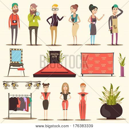 Catwalk fashion set flat elements of special event with red carpet podium clothes and people characters vector illustration