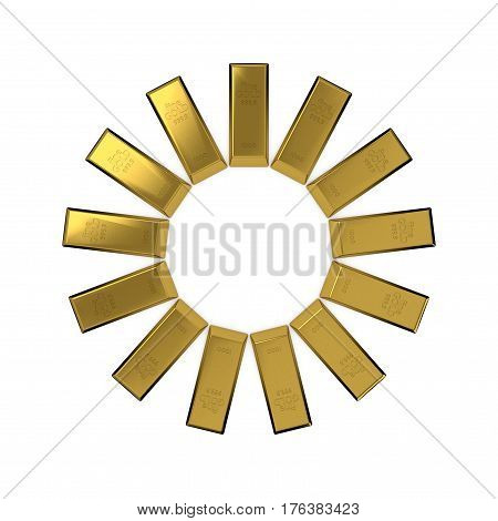 Circle from gold bars. Abstract sun Isolated on white background. 3D rendering illustration.