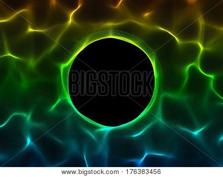 Abstract Wave surface of particles. Black background. Round hole. Digital illustration.
