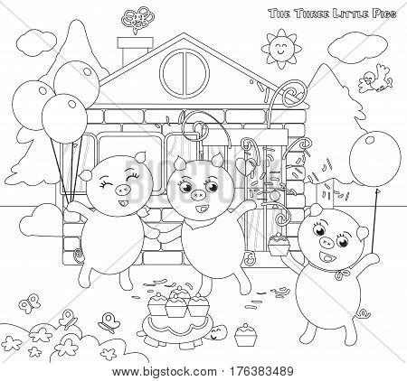 coloring three little pigs folktale happy ending vector
