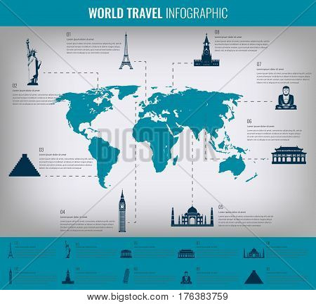 Infographic world landmarks on map.  Vector illustration