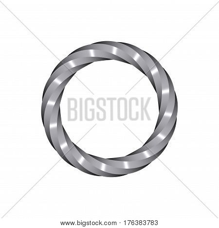 Twisted metallic ring. Isolated on white background. 3D rendering illustration.
