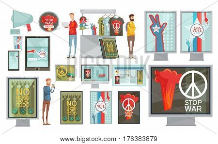 Flat set of web media print and gifts social propaganda isolated on white background vector illustration
