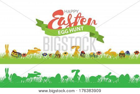 Easter seamless border with rabbits, grass and eggs. Multi-colored and monochromatic seamless border set. Egg hunt icon.