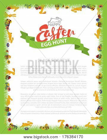 Easter Egg Hunt Invitation Flyer Design with Bunny, Egg on Green grass. Lettering Inscription Easter. Vector Illustration. The announcement of the festival template.