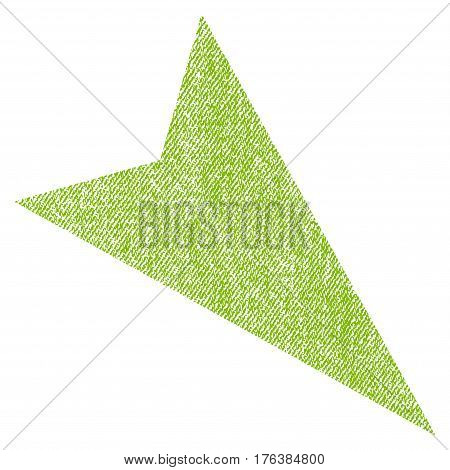 Arrowhead Right-Down vector textured icon for overlay watermark stamps. Fabric light green vectorized texture. Symbol with dirty design. Rubber seal stamp with fiber textile structure.
