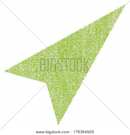 Arrowhead Right-Up vector textured icon for overlay watermark stamps. Fabric light green vectorized texture. Symbol with dirty design. Rubber seal stamp with fiber textile structure.