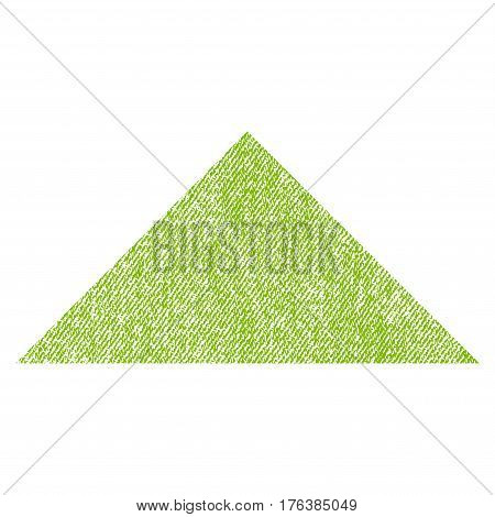 Arrowhead Up vector textured icon for overlay watermark stamps. Fabric light green vectorized texture. Symbol with unclean design. Rubber seal stamp with fiber textile structure.