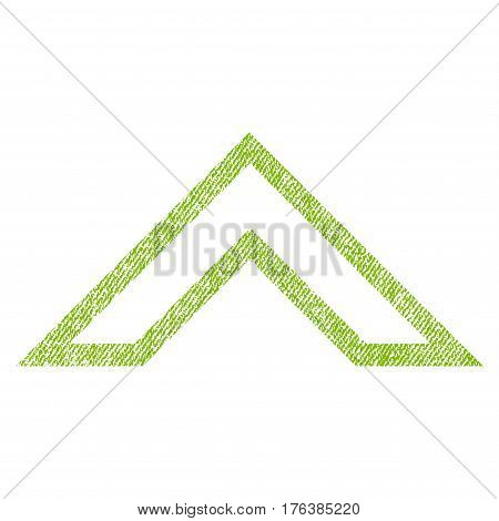 Arrowhead Up vector textured icon for overlay watermark stamps. Fabric light green vectorized texture. Symbol with dirty design. Rubber seal stamp with fiber textile structure.