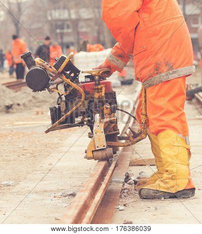 Welder working hard on a construction site.