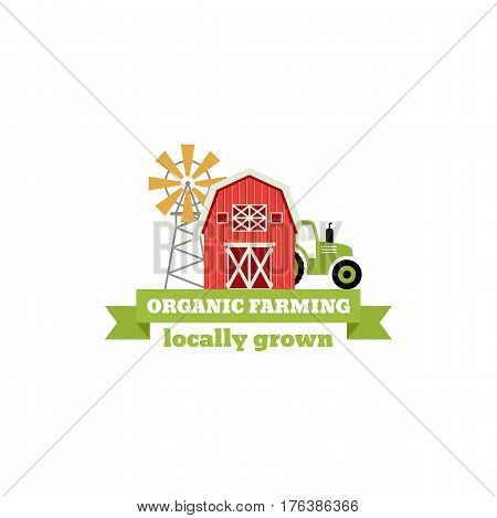 Fresh from the Farm concept logo. Template with farm landscape, windmill. Label for natural farm products. Colorful badge isolated on white background. Vector illustration
