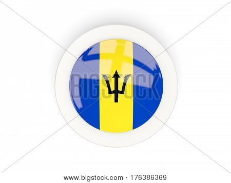 Round Flag Of Barbados With Carbon Frame