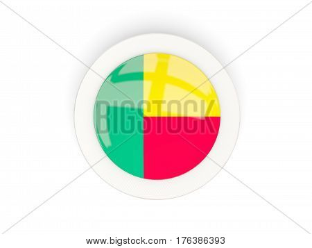 Round Flag Of Benin With Carbon Frame