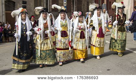 CAGLIARI, ITALY - May 1, 2013: 357 Religious Procession of Sant'Efisio - group of women who parade in traditional Sardinian costume - Sardinia