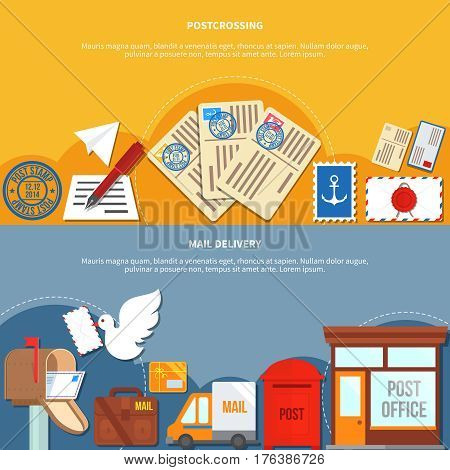 Postal services horizontal banners with postcrossing in yellow color mail delivery on grey background isolated vector illustration