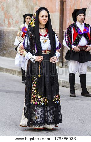 CAGLIARI, ITALY - May 1, 2014: 358 Religious Procession of Sant'Efisio - parade in traditional Sardinian costume - Sardinia