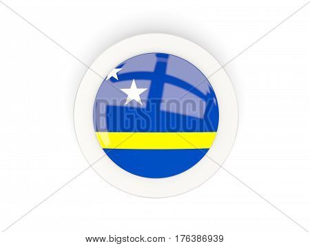 Round Flag Of Curacao With Carbon Frame