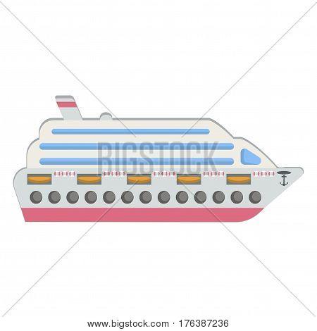 Ship icon, vector illustration. Cruise ship. Flat design style.