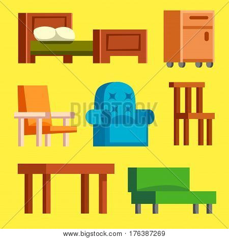 Sofa isolated home seat. Style interior comfortable sofa isolated fashion texture decor.Table, chair vector furniture icon. Bed vector house information bedtime modern