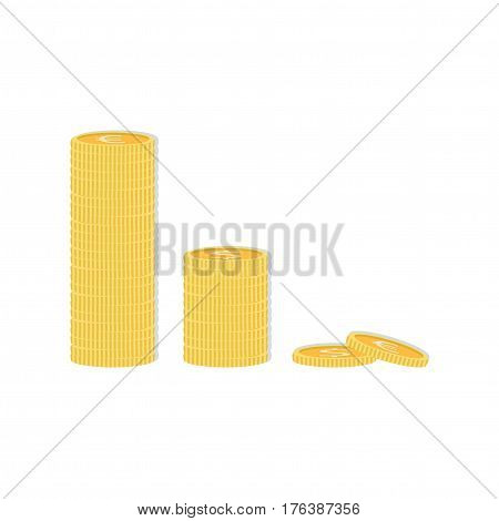Gold stack of dollar and euro coins. Vector isometric money icon on a colored background. Money flat icon in isometric style.