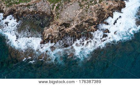 view of rough sea with rocks coast Cyprus blue lagoon